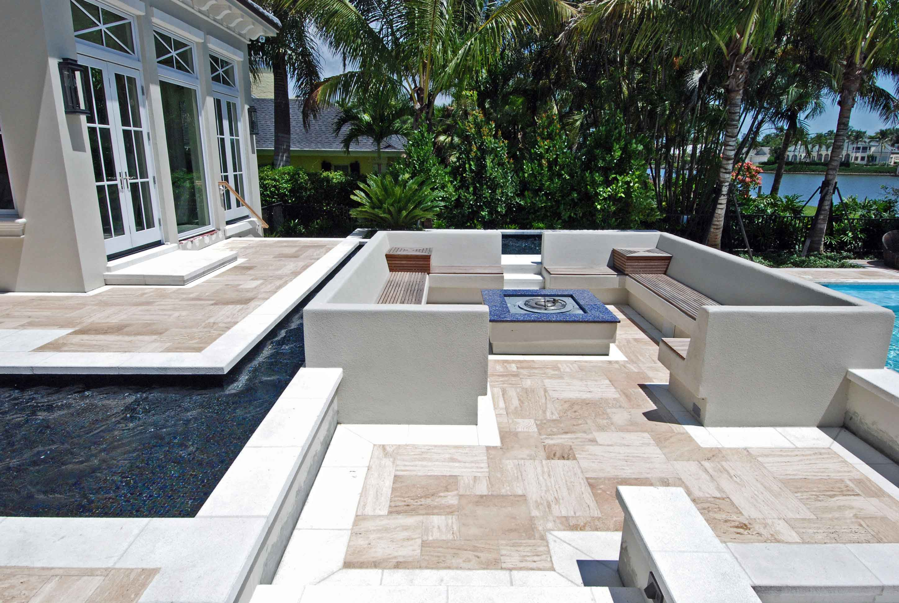 Fire Pit With Seating Surrounded By Pool Jackson Pools Inc Serving Estero Naples Fort Myers Southwest Fl